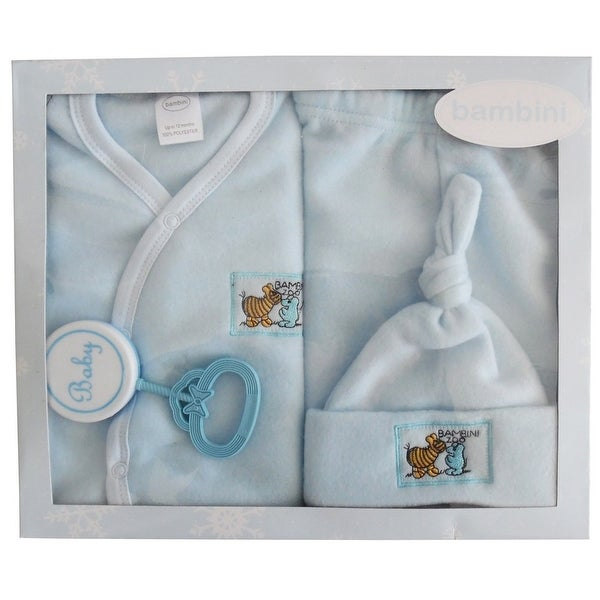 f1d8973f1f70 Shop Bambini Baby Boys Blue Printed Collar-less Jacket Cap Pants ...