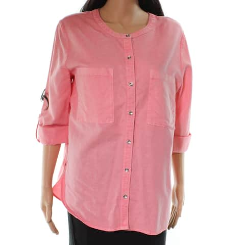 Caslon Pink Womens Size Large L Roll-Tab-Sleeve Button Down Shirt
