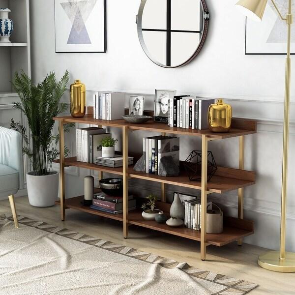 Furniture of America Bizi Contemporary Metal Wide Display Shelf. Opens flyout.