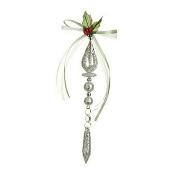 """8"""" Silver Glitter Drenched Christmas Drop Ornament with Pendant"""