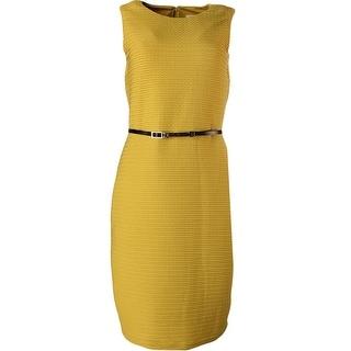 Calvin Klein Womens Textured Lined Wear to Work Dress