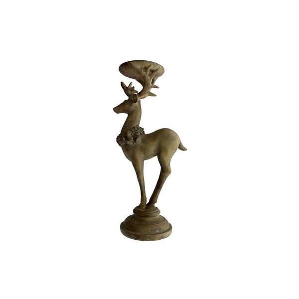 SPC Candle Holder Sm Deer Statuette Pedestal Brn