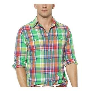 Ralph Lauren RL Long Sleeve Plaid Shirt Green Multi-Color Small