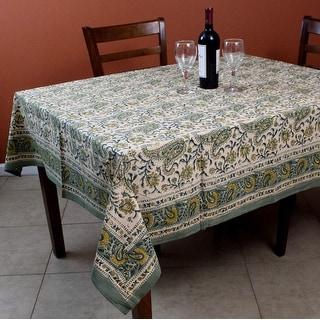 Rajasthan Paisley Cotton Block Print Floral Tablecloth Rectangular Square Round Linen