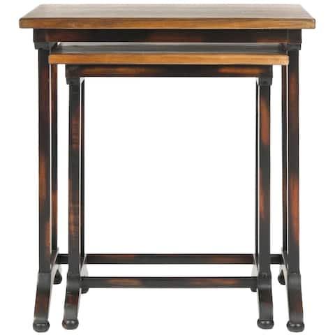 SAFAVIEH Annie Black Oak Brown Nesting Tables (Set of 2)
