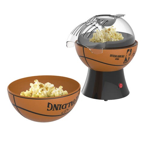 Uncanny Brands NBA Popcorn Maker - Officially Licensed Basketball Shaped Hot Air Popcorn Popper Kitchen Appliance