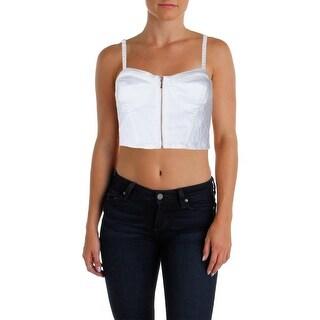 Material Girl Womens Juniors Crop Top Denim Lace Inset - S