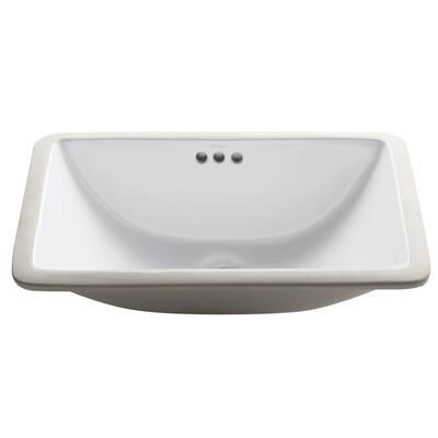 Kraus Elavo 21 in Rectangle Porcelain Ceramic Undermount Bathroom Sink