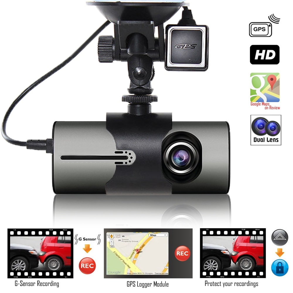 "Indigi® XR300 Car DVR Dual Camera DashCam (Front+Rear) Driving Recorder with 2.7"" Split Screen LCD w/ GPS Tracker + G-Sensor - Thumbnail 0"