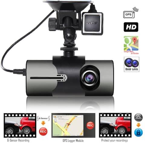 "Indigi® NEW XR300 Car DVR Dual Camera DashCam (Front+Rear) Driving Recorder with 2.7"" Split Screen LCD w/ GPS Tracker + G-Sensor"