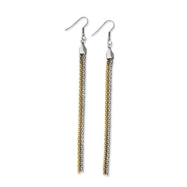 Chisel Stainless Steel Yellow IP-plated & Polished Dangle Earrings