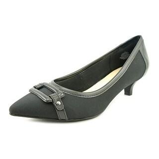 Anne Klein Melanie Women  Pointed Toe Canvas Black Heels