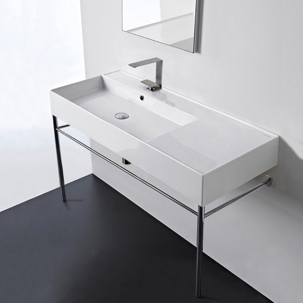 "Nameeks Scarabeo 5119-CON Scarabeo Teorema 2.0 40"" Rectangular Ceramic Console Bathroom Sink with Overflow"