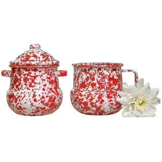 Crow Canyon D36RM Sugar & Creamer Set, Red Marble