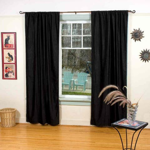 Black Rod Pocket Velvet Curtain / Drape / Panel - Piece