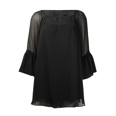 Alfani Women's Shirred Crinkled Crepe Peasant Top - Deep Black - 4