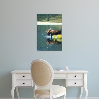 Easy Art Prints Hugh Rose's 'Bull Moose Wading In Tundra Pond' Premium Canvas Art