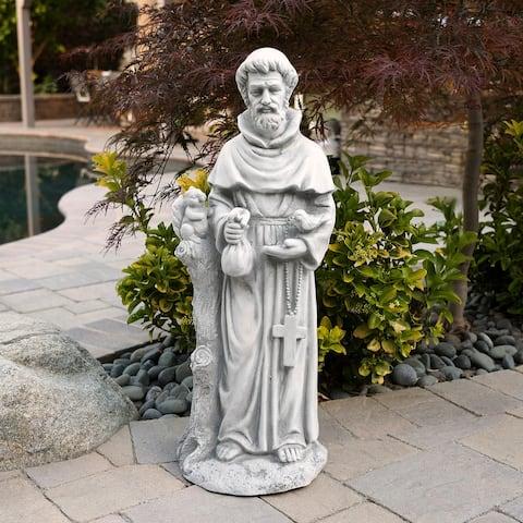 Alpine St. Francis Stone Garden Statue, Gray, 31 Inch Tall