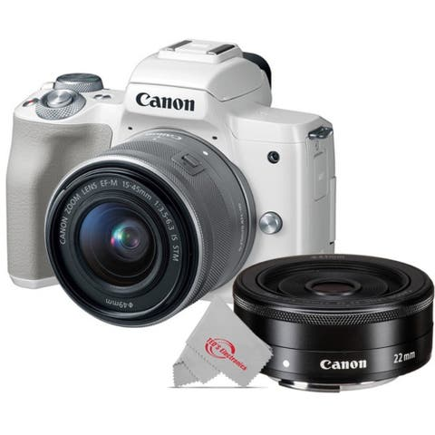 Canon EOS M50 Mirrorless Digital Camera White with 15-45mm Lens + EF-M 22mm f2 STM Compact System Lens
