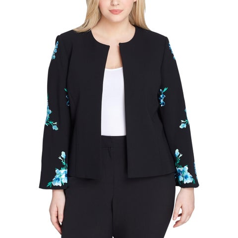 Tahari ASL Womens Plus Open-Front Blazer Floral Work Wear