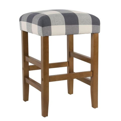 """HomePop Square 24"""" Counter Stool - Blue Plaid - 24 inches - 24 inches"""
