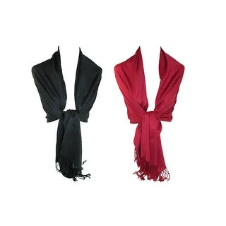CTM® Women's Pashmina Shawl Wrap Scarf (Pack of 2) - One size (4 options available)