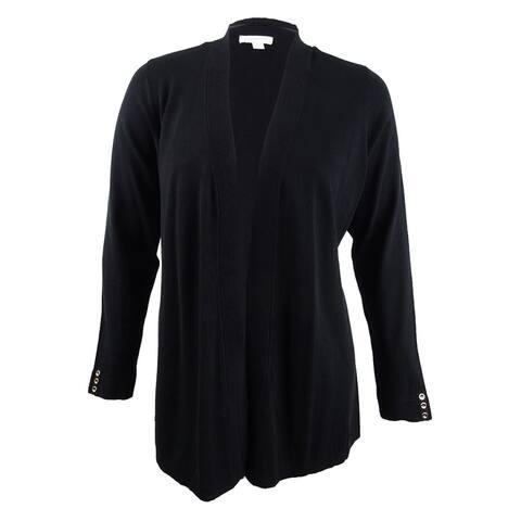 Charter Club Women's Plus Size Open-Front Cardigan (2X, Deep Black) - Deep Black - 2X