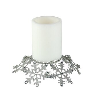 9' Silver Snowflake Glittered and Jeweled Christmas Pillar Candle Holder - N/A