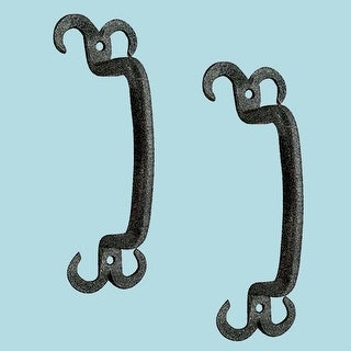 2 Cabinet Pull Drawer Handle Horn Black Wrought Iron 4 1/2