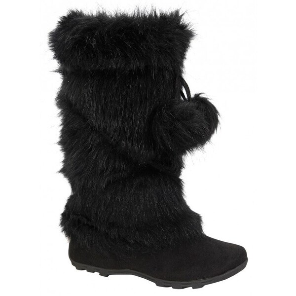 Blossom Womens Tara-Hi Pom Pom Winter Fashion Boots - Black