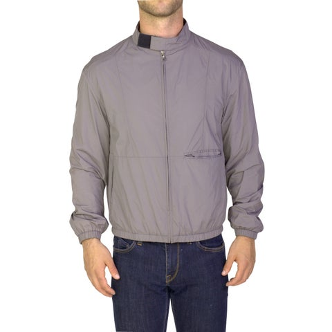 Prada Men's Nylon Polyester Blouson Zip-up Jacket Grey
