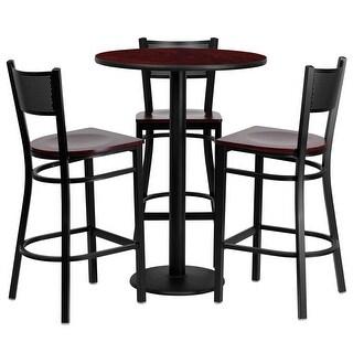 """Dyersburg 4pcs Table Set Round 30"""" Mahogany Laminate, Mahogany Wood Barstool"""
