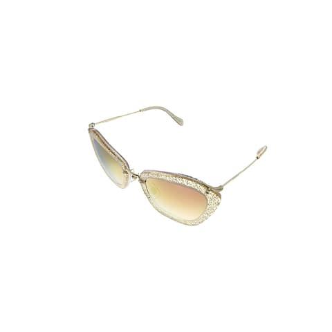 Miu Miu MU 10NS 155AD2 55mm Womens Glitter Gold Frame Pink Mirror Lens Sunglasses