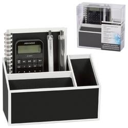 Black With White Trim - Magnetic Desk Organizer Set 5pcs