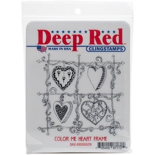 """Deep Red Cling Stamp 3""""X3""""-Color Me Heart Frame"""