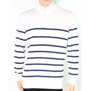 Club Room NEW Beige Navy Blue Mens Size Large L 1/2 Zip Striped Sweater