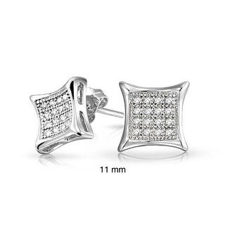 Bling Jewelry Men Kite Micro Pave CZ Stud earrings 925 Sterling Silver 11mm