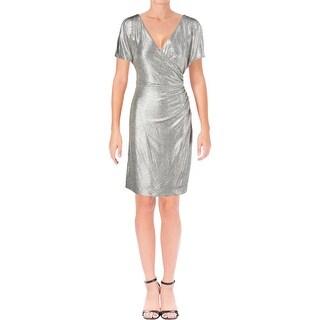 Lauren Ralph Lauren Womens Featha Cocktail Dress V-Neck Cold Shoulder