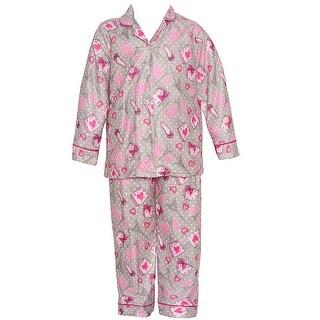 Sweet n Sassy Little Girls Gray Paris Inspired Print 2 Pc Pajama Set