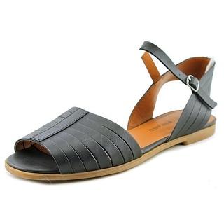 Lucky Brand Channing Women Peep-Toe Leather Black Slingback Sandal