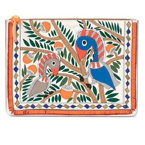 Tory Burch Womens Toucan Applique Pouch Wristlet Handbag