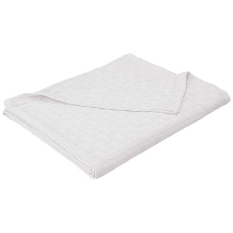 "Homvare Full/Queen Super Soft Cotton Basket Weave Blanket/Throw 90"" x 90"""