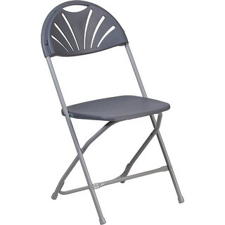 Rivera Heavy Duty Plastic Folding Chair, Charcoal, Fan Back