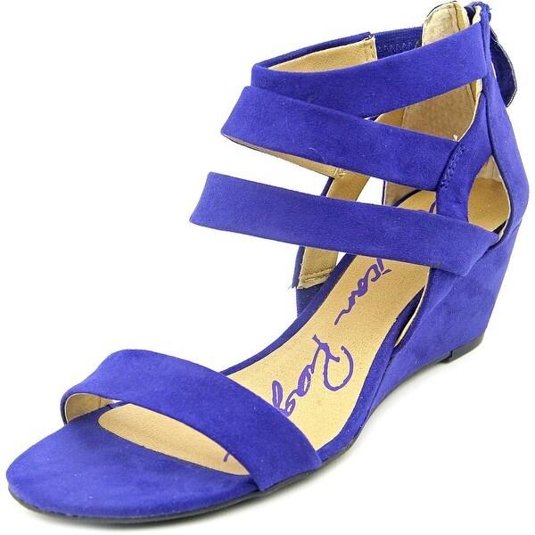 American Rag Casen Women Open Toe Canvas Blue Wedge Sandal