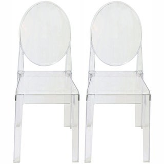 2xhome - Set of Two (2) - LARGE Size - Clear Victorian Ghost Style Armless Side Chairs
