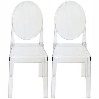 2xhome Set of Two (2) Clear Victorian Ghost Style Armless Side Chair