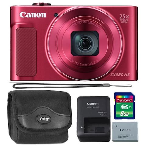 Canon PowerShot SX620 20.2MP HS Digital Camera Red 8GB Kit