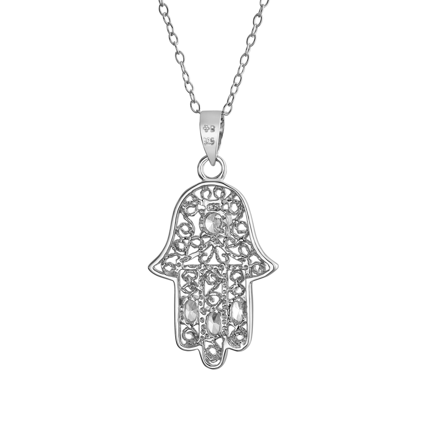 Filigree Solitaire Pendant Simulated Stone 925 Sterling Silver Choose Color