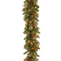"9' x 12"" Pre-Lit Wintry Pine Artificial Christmas Garland with Cones, Berries and Snow - Clear Lights - green"