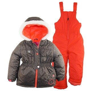 Rugged Bear Little Girls Water Resistant Floral Puffer Jacket Snowpants Snowsuit